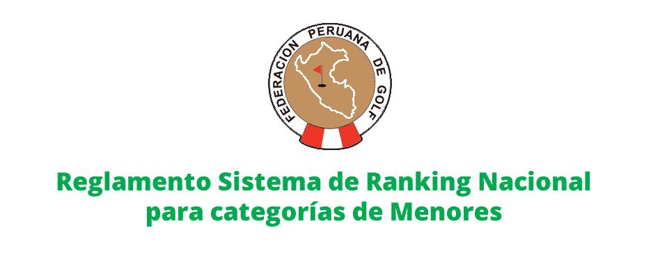 Reglamento Sistema de Ranking Nacional para categorías de Menores