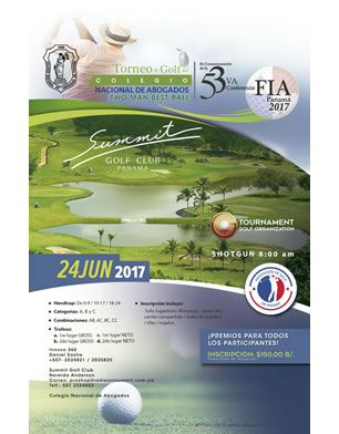 Torneo de Golf del Colegio Nacional de Abogados. Summit Golf Club Panamá. 24 Junio 2017