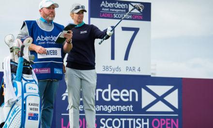 Jornada muy dura con frío, viento y Karrie Webb como líder en el Ladies Scottish Open