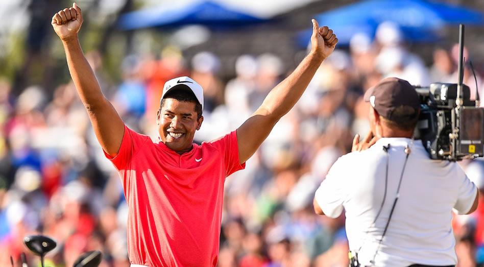 Así reaccionó Vegas tras asegurarse su segundo título consecutivo en Glenn Abbey. (Getty Images)