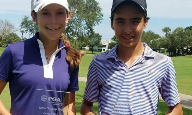 Virgilio Paz y Agatha Alesson participaron en torneo del PGA South Florida- Junior Challenge Tour