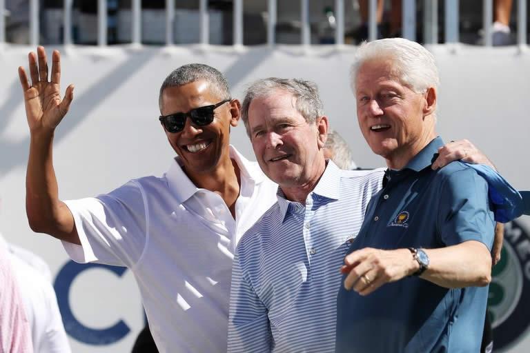 Los expresidentes Barack Obama, Bill CLinton y George W. Bush (cortesía Golf Digest)