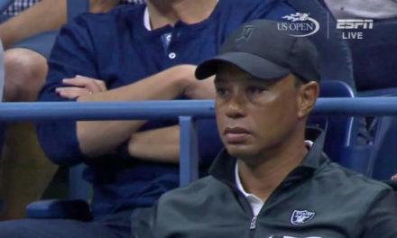 Tiger disfruta de la semifinal del Us Open desde el palco de Nadal