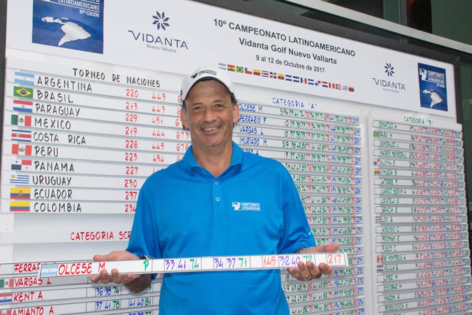 El argentino Mariano Olcese fue el ganador de la competencia individual categoría Scratch del Campeonato Latinoamericano de Golf 2017