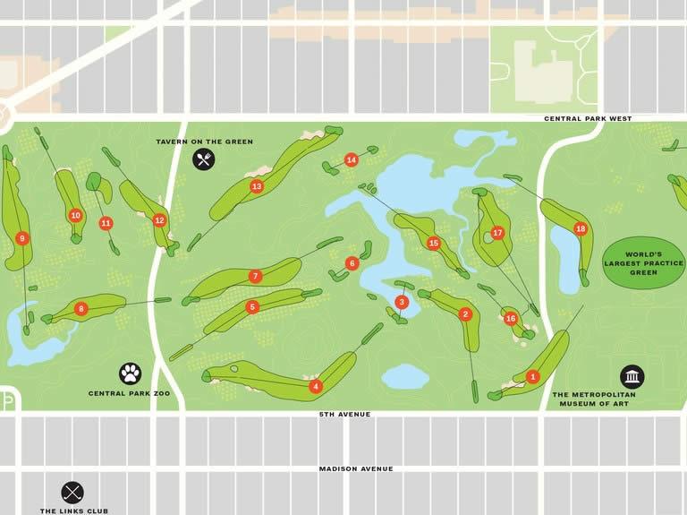 36 Hoyos de Golf en el Central Park de New York (cortesía Golf Digest)