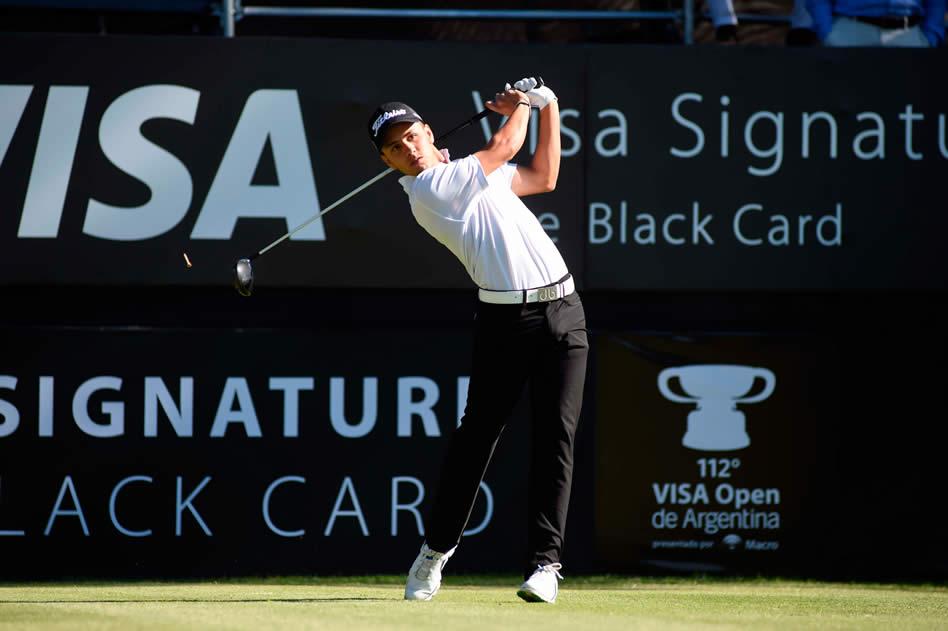 El aficionado Marcos Montenegro (ARG) sorprendió en esta primera ronda del 112° VISA Open de Argentina presentado por Macro en el Jockey Club (Enrique Berardi/PGA TOUR)