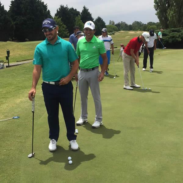 Julián Etulain y Andrés Romero practicaron antes de jugar en el mismo grupo en esta primera ronda del Andrés Romero Invitational 2017 / Crédito: GMMG