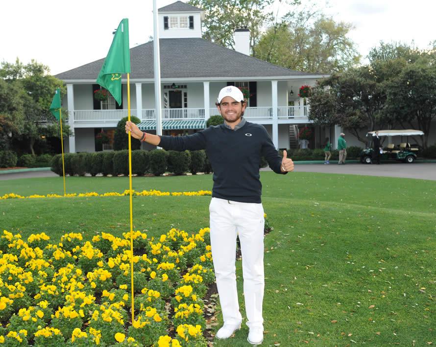 El chileno Toto Gana, campeón del LAAC 2017, en Augusta National cuando jugó The Masters en abril de este año. / Foto: Gentileza LAAC