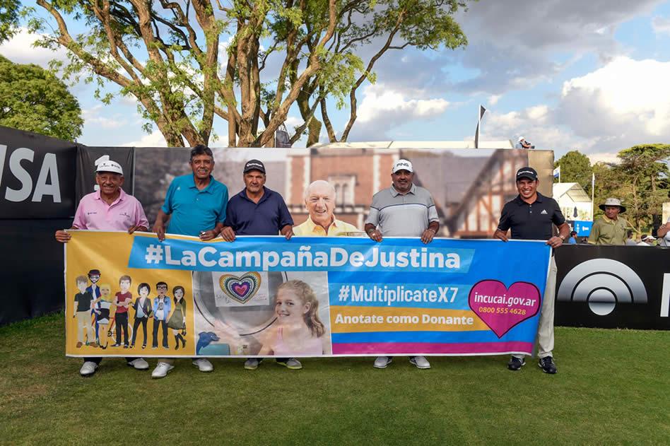 Los principales jugadores del 112° VISA Open de Argentina presentado por Macro se sumaron a la campaña por un corazón para Justina (Enrique Berardi/PGA TOUR)