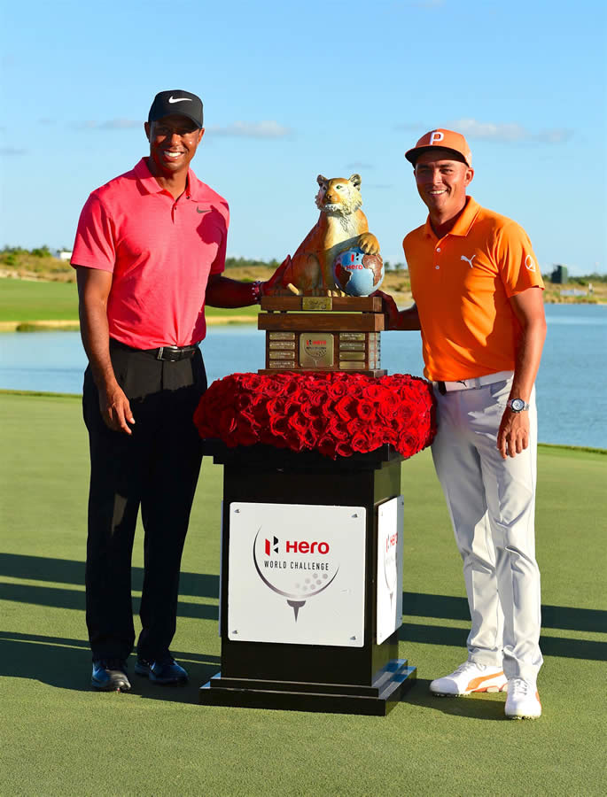Tiger Woods y Rickie Fowler en el Hero World Challenge  (cortesía ABC News)