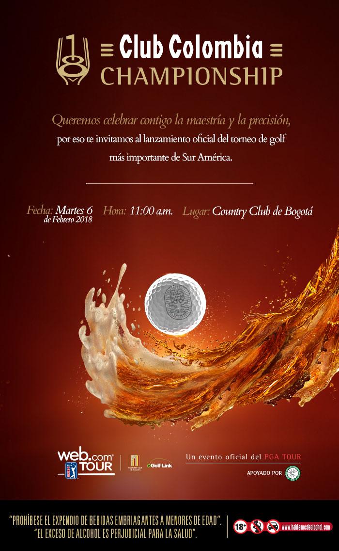 Este martes 6 de febrero se realizará la presentación oficial del Club Colombia Championship 2018