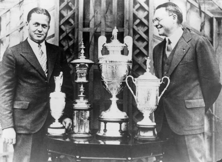 Bobby Jones (Izquierda) gana el original Grand Slam en 1930 (cortesía Augusta National y Getty Images)
