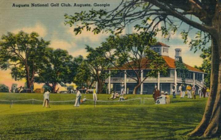Augusta fue fundada por Bobby Jones y Clifford Roberts en 1933 y la cancha fue diseñda pro Alister MacKenzie (cortesía The Print Collector y Getty Images)
