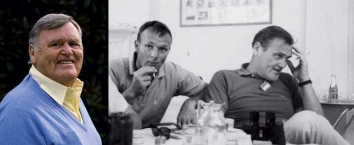 Bob Drum y Arnold Palmer en los años 60s cuando protagonizaba The Drummer's Beat siguiendo a Palmer. (cortesía Golf Digest)