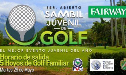 Horario de salida de los 5 Hoyos de Golf Familiar del Abierto Sambil Juvenil