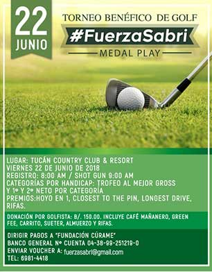 Torneo de Golf #FuerzaSabri, 22 de Junio, Tucán Country Club & Resort