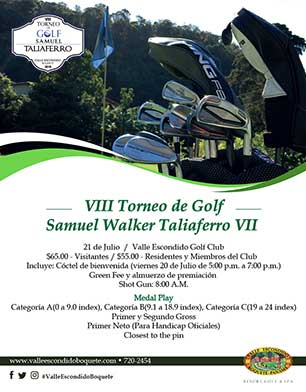 VIII Torneo de Golf Samuel Walker Taliaferro VII, 21 de Julio, Valle Escondido Golf Club