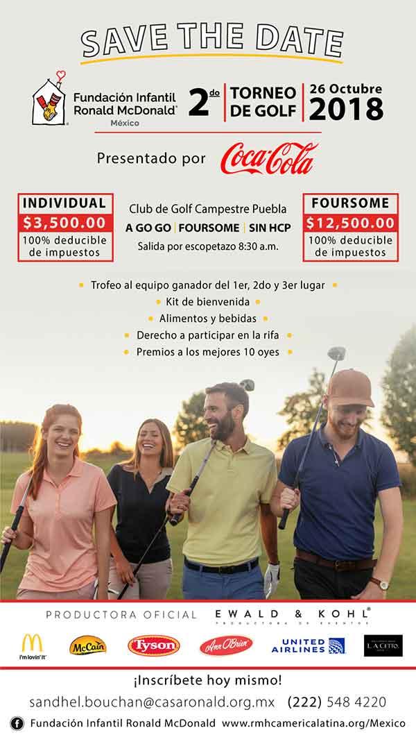 2do. Torneo de Golf en Puebla - Fundación Infantil Ronald McDonald