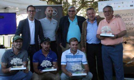 Leo Lilja ganador del Pro-Am y Carlos Sánchez del Reto Golf en la Plaza de Toros de Pozoblanco